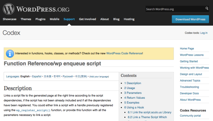 WP Enqueue Codex Screenshot