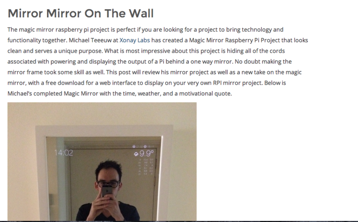 Shoutout Michael's Awesome Magic Mirror Project