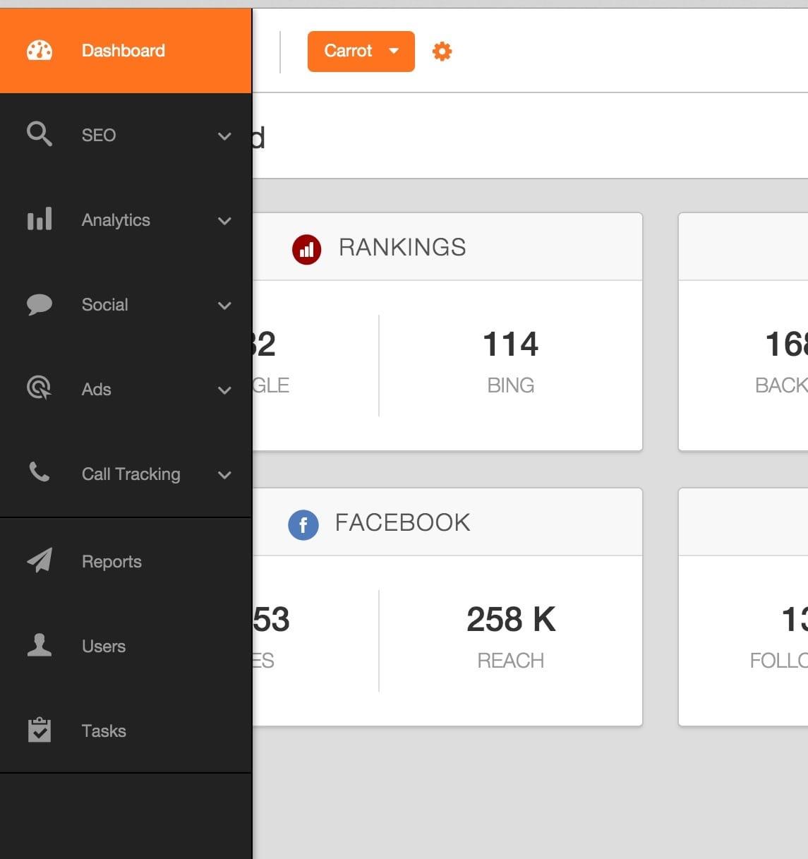 Agency Analytics Specific Website Dashboard