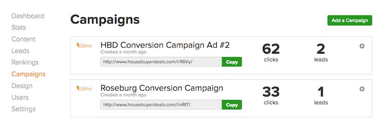 Campaign Tracking Links Screenshot