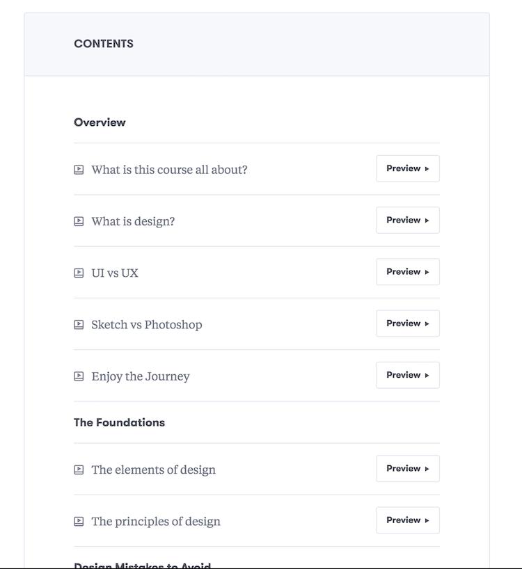 course list screenshot