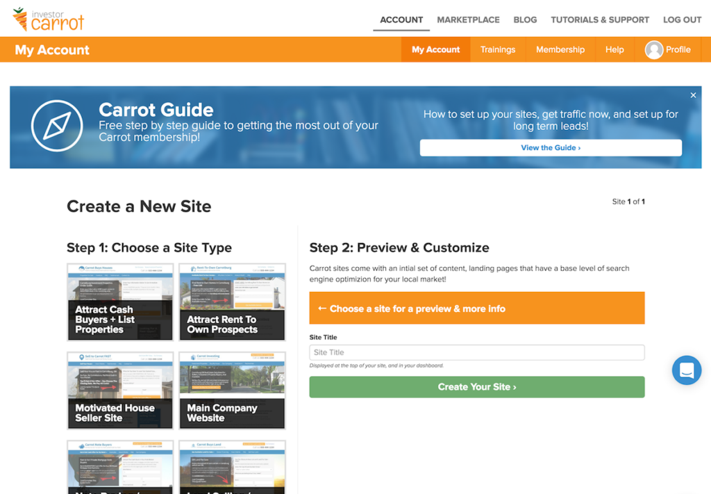 How to launch an investor carrot website