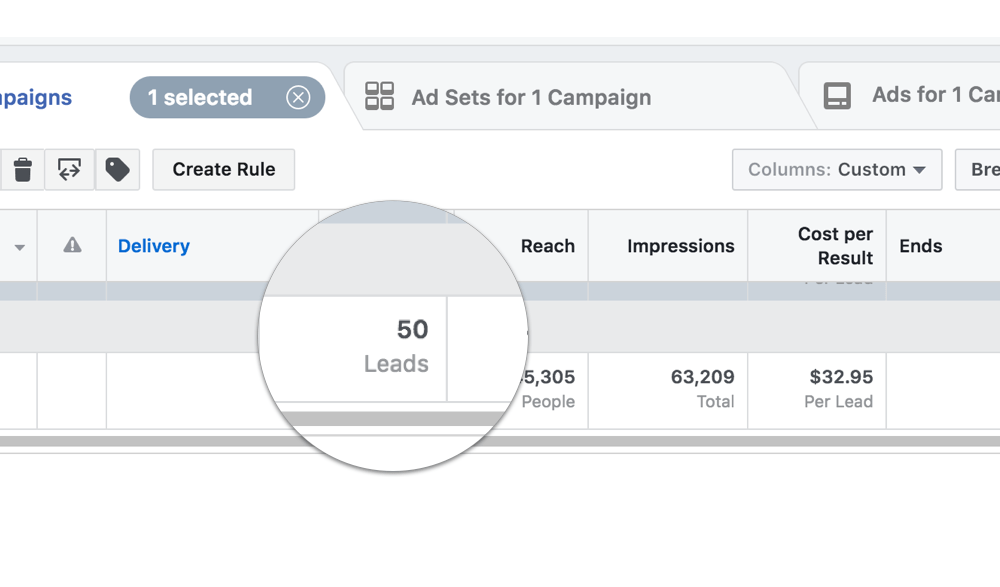 Example of Facebook campaign with 50 leads