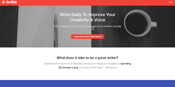 Scribly app home page